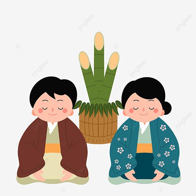 oshogatsu japanese new year prayer hatsumode flat style closed eyes figure