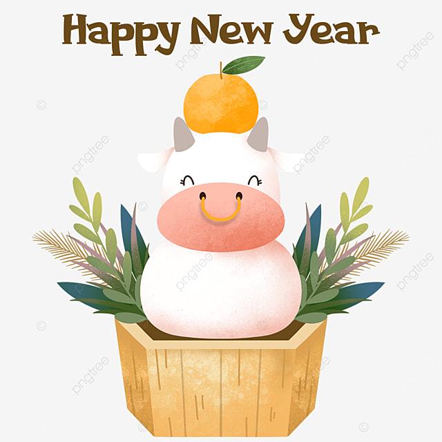 happy new year watercolor kawaii cow