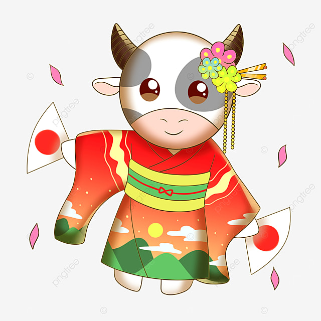 a cow dancing in a kimono to congratulate the japanese new year