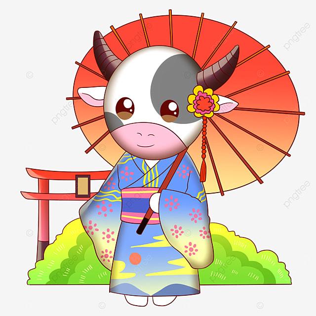 a cow wearing a kimono holding a japanese paper umbrella