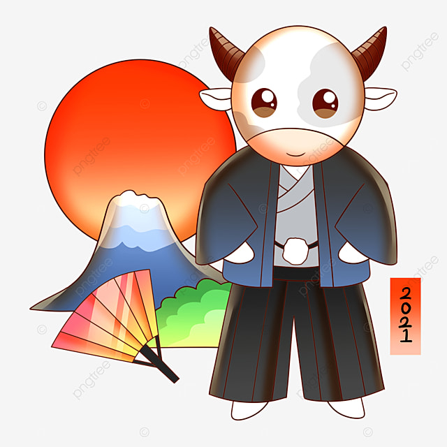 a cow wearing a kimono in front of mount fuji