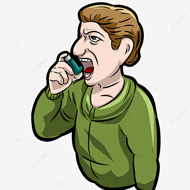 Asthma Patient With Respirator Coughing Sickness Pain Uncomfortable Breathing Cartoon Character Asthma Patient Respirator Png Transparent Clipart Image And Psd File For Free Download