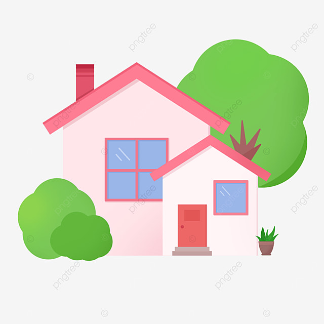 beautiful pink home clipart