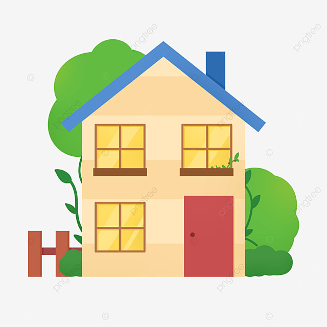 blue roof home clipart