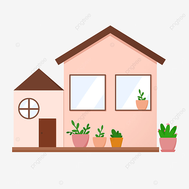 brown roof home clipart