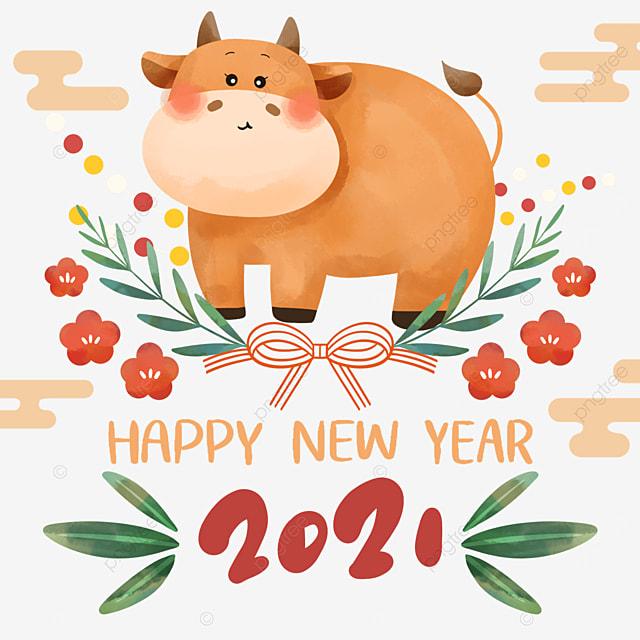 cartoon style japan 2021 new year