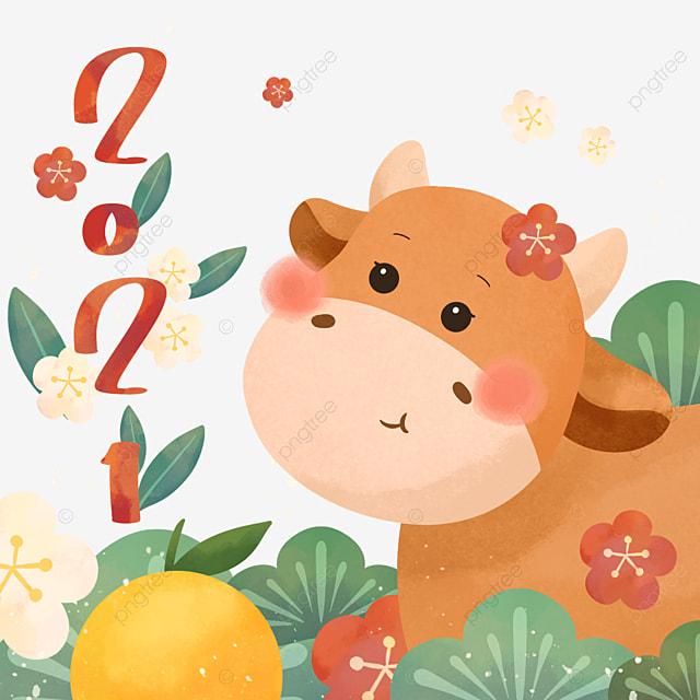 cartoon style japan 2021 year of the ox