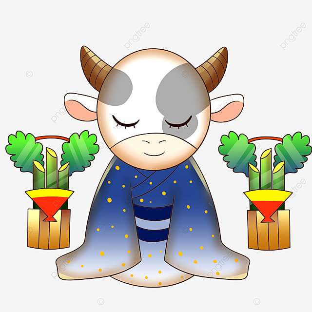 cow in kimono with eyes closed
