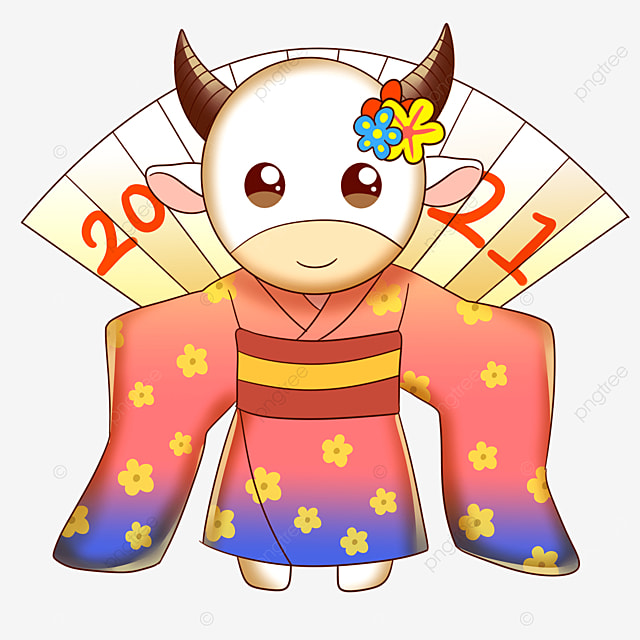 cow in pink kimono for japanese new year