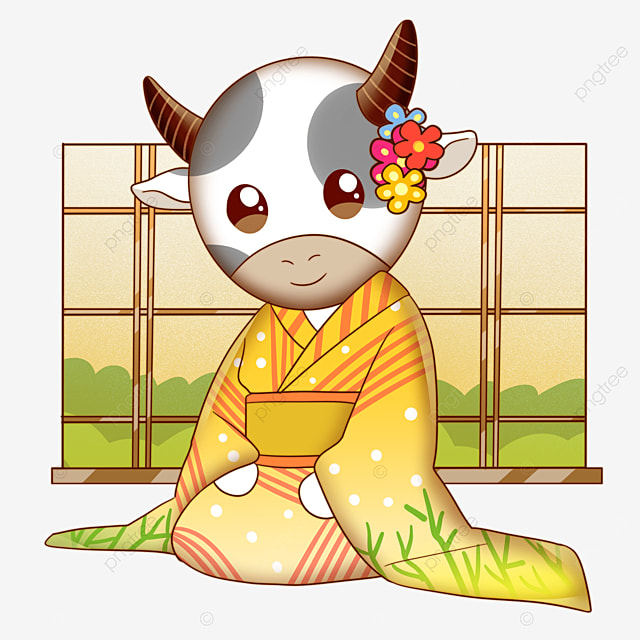 cow wearing kimono for japanese new year