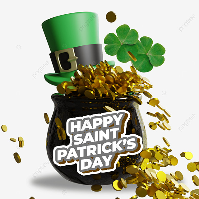 happy saint patrick s day with 3d black barrel and golds