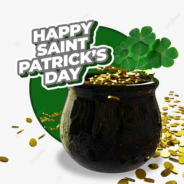 happy saint patrick s day with gold ceramic barrel and leaves
