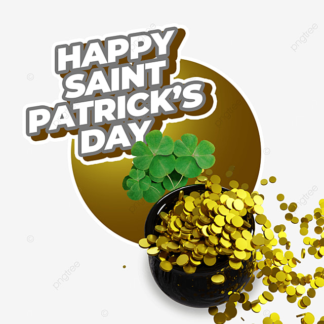 happy saint patricks day with barrel full of gold