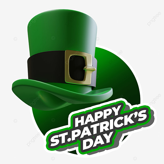 happy st patricks day with floating hat