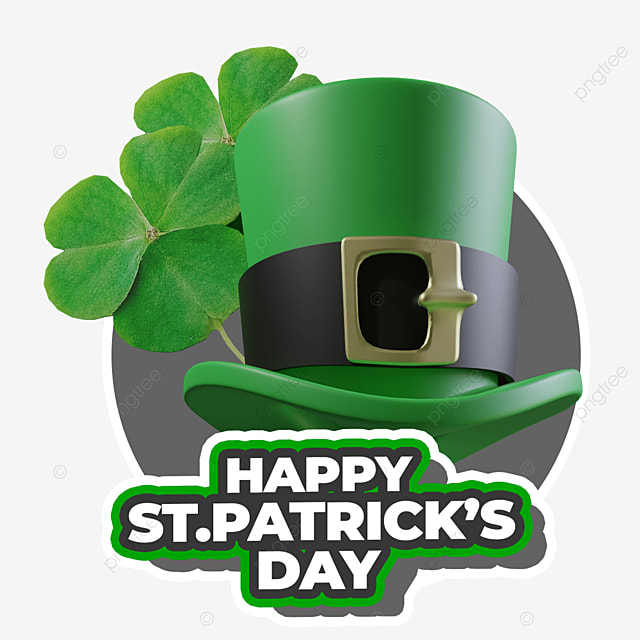 happy st patricks day with green hat and leaf