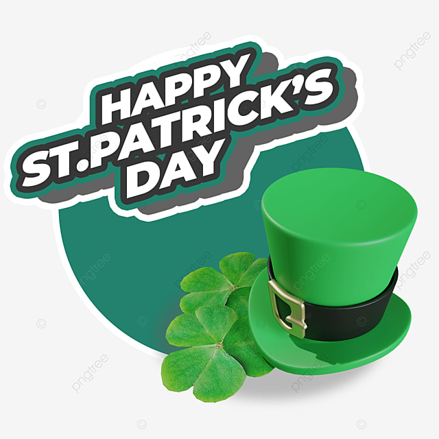 happy st patricks day with hat and leaf lay on floor
