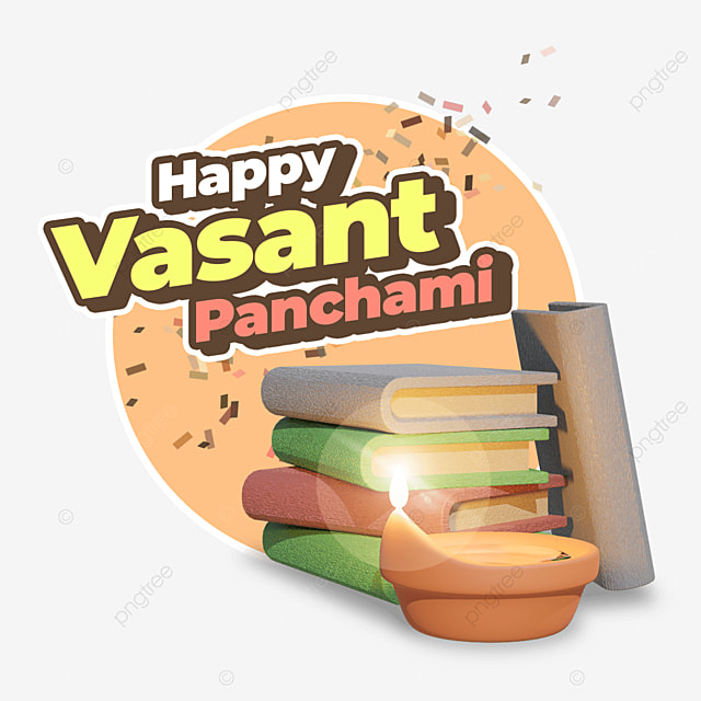 happy vasant panchami with books and candle