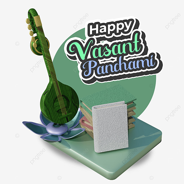 happy vasant panchami with books on green base