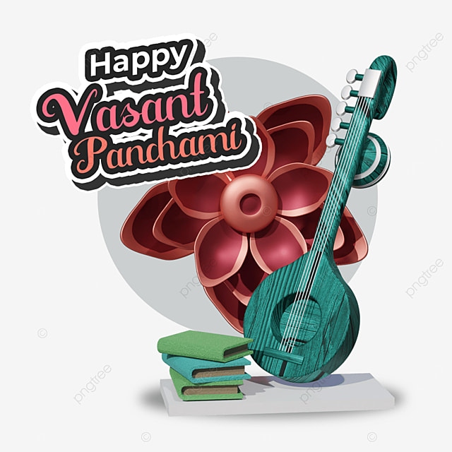 happy vasant panchami with green guitar and books