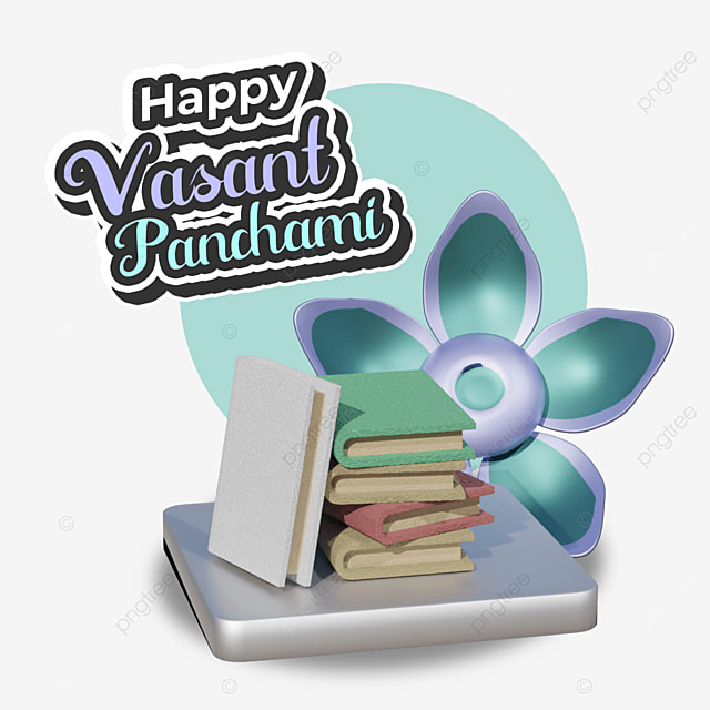 happy vasant panchami with pile of book