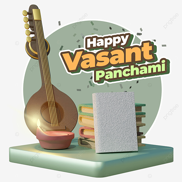 happy vasant panchami with set of guitar candle and books