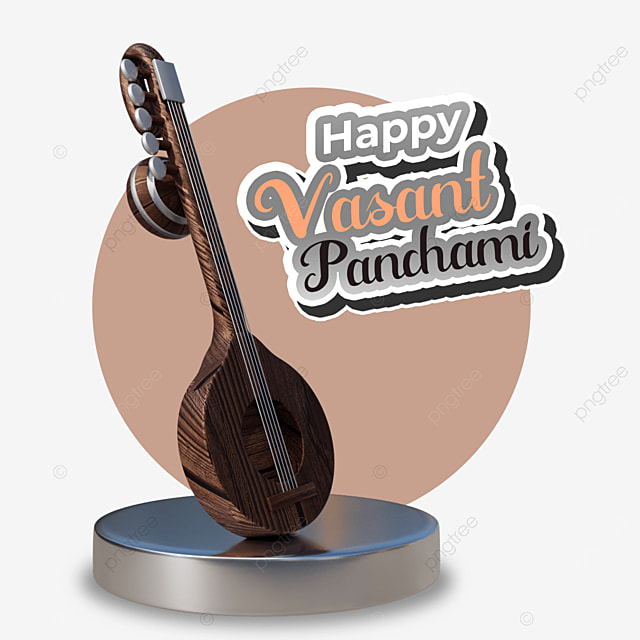 happy vasant panchami with wood guitar on base