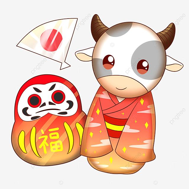 japanese tumbler and cow in kimono