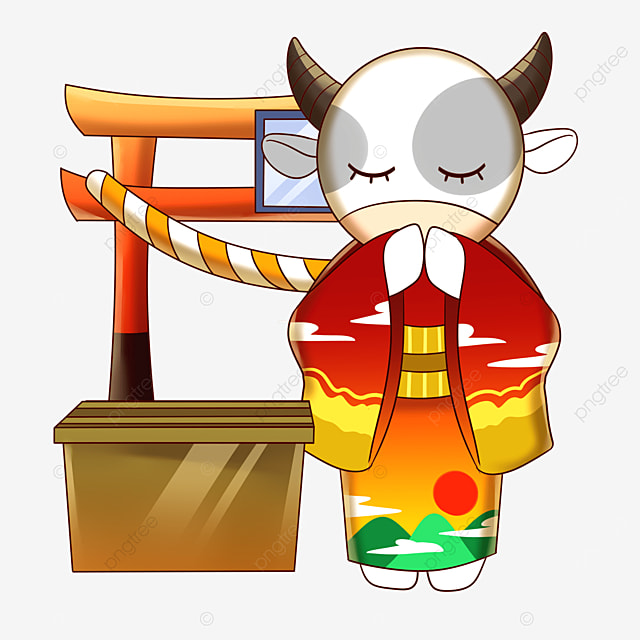 kimono cow praying in front of the shrine