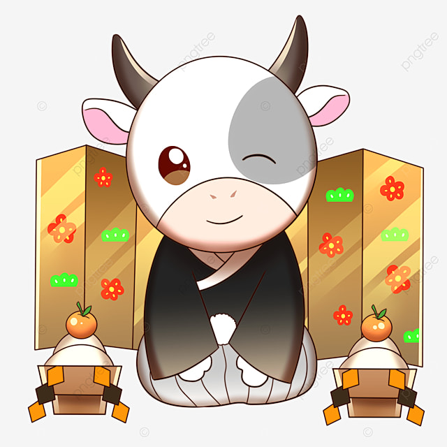 kneeling to congratulate a cow wearing a kimono in japanese new year