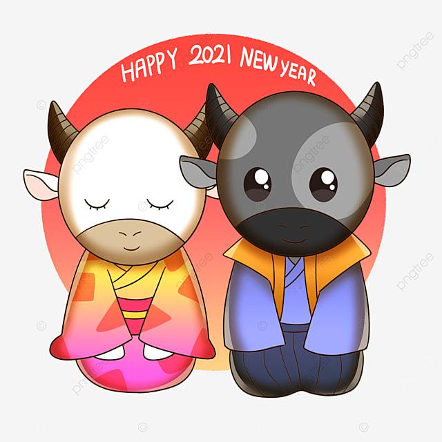 two cow couple in kimono