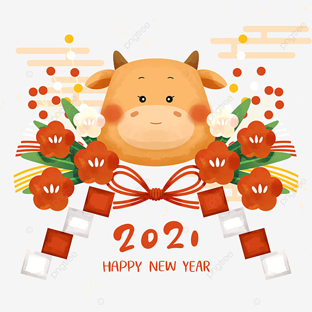 watercolor style japanese year of the ox