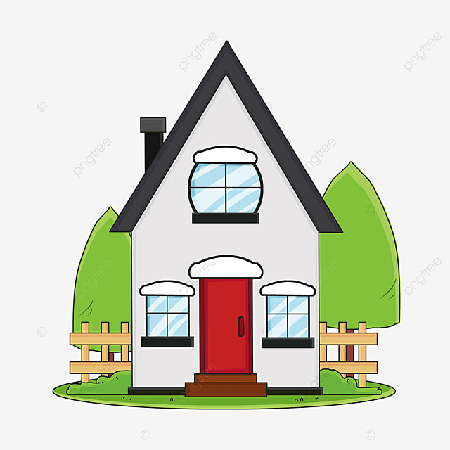 home clipart cartoon style ink blue roof gray walls family house clipart