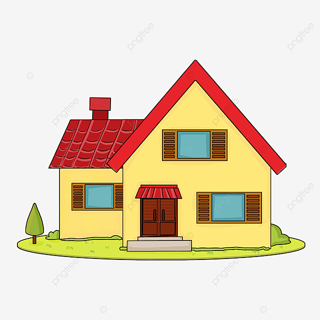 home clipart cartoon style red roof pale yellow walls family house clipart