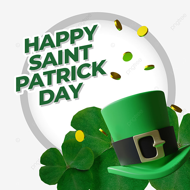 happy saint patrick day with 3d hat floating coin