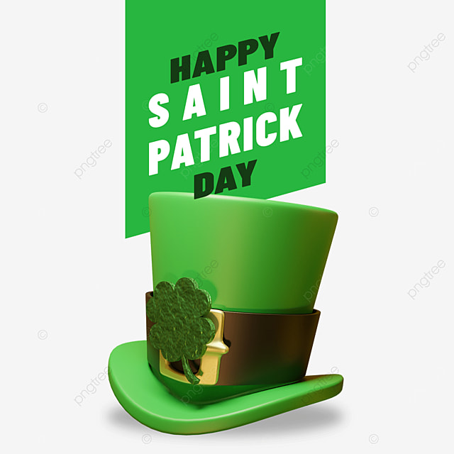 happy saint patrick day with hat and cloverleaf accesories on it