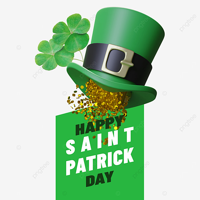 happy saint patrick day with hat and rainy gold