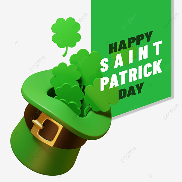 happy saint patrick day with hat spread ot 3d cloverleaf