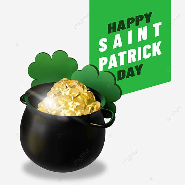 happy saint patrick day with metal black barrel of gold and clover leaf