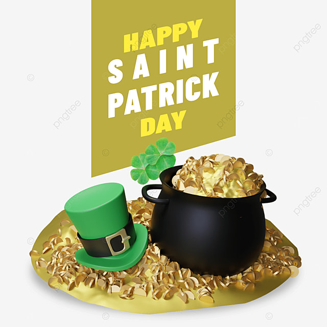happy saint patrick day with skillet and hat on pile of gold
