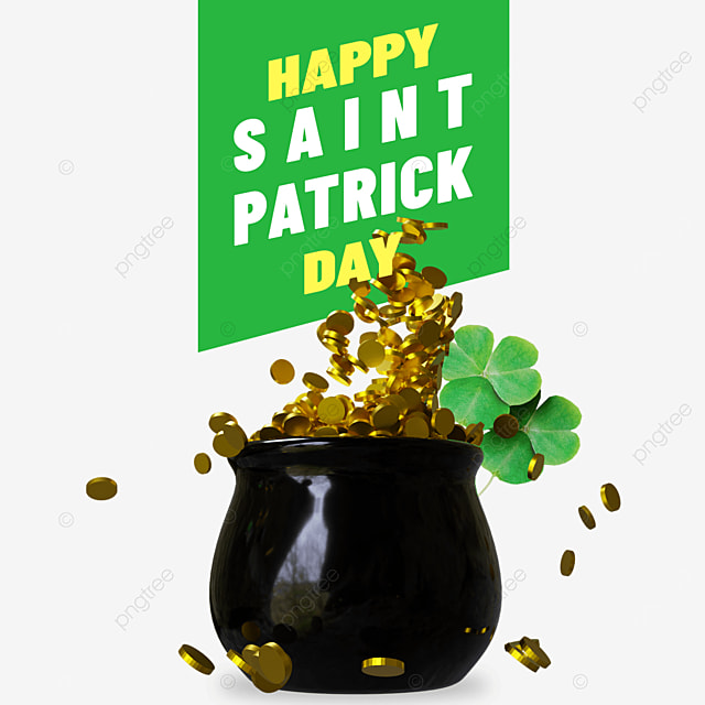 happy saint patrick day with skillet full of gold