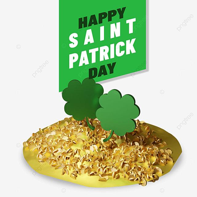 happy saint patrick with 3d clover leaf