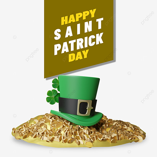 happy saint patrick with hat on pile of gold