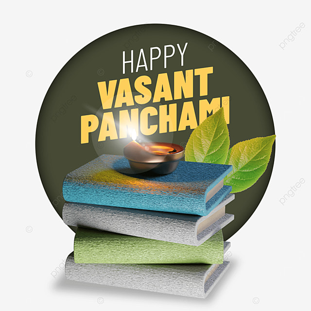 happy vasant panchami with books and leaf behind