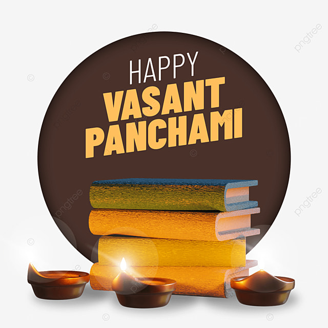 happy vasant panchami with books candles lighted