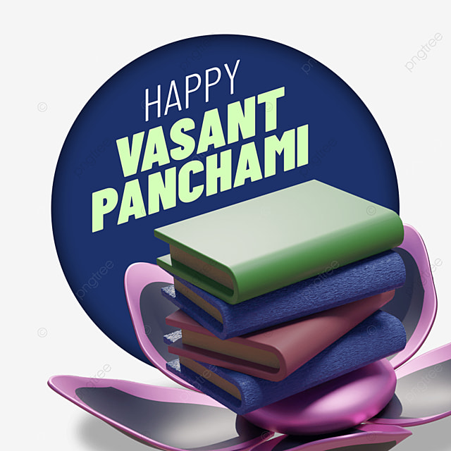 happy vasant panchami with bundle of books on flower
