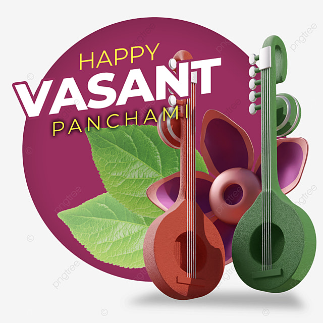happy vasant panchami with green and orange guitar floating