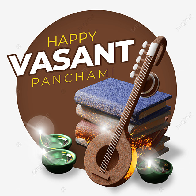 happy vasant panchami with guitar laying on books and candles