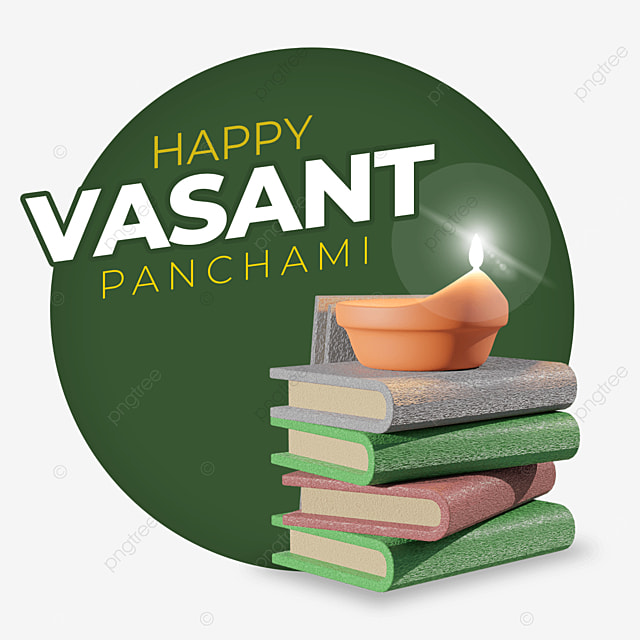 happy vasant panchami with orange candle and books