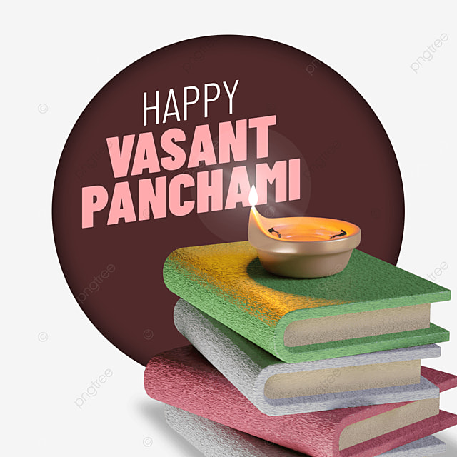 happy vasant panchami with pile of books and candle corner