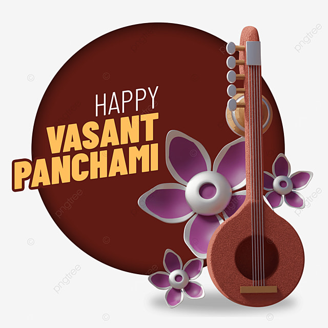 happy vasant panchami with standing guitar and flowers